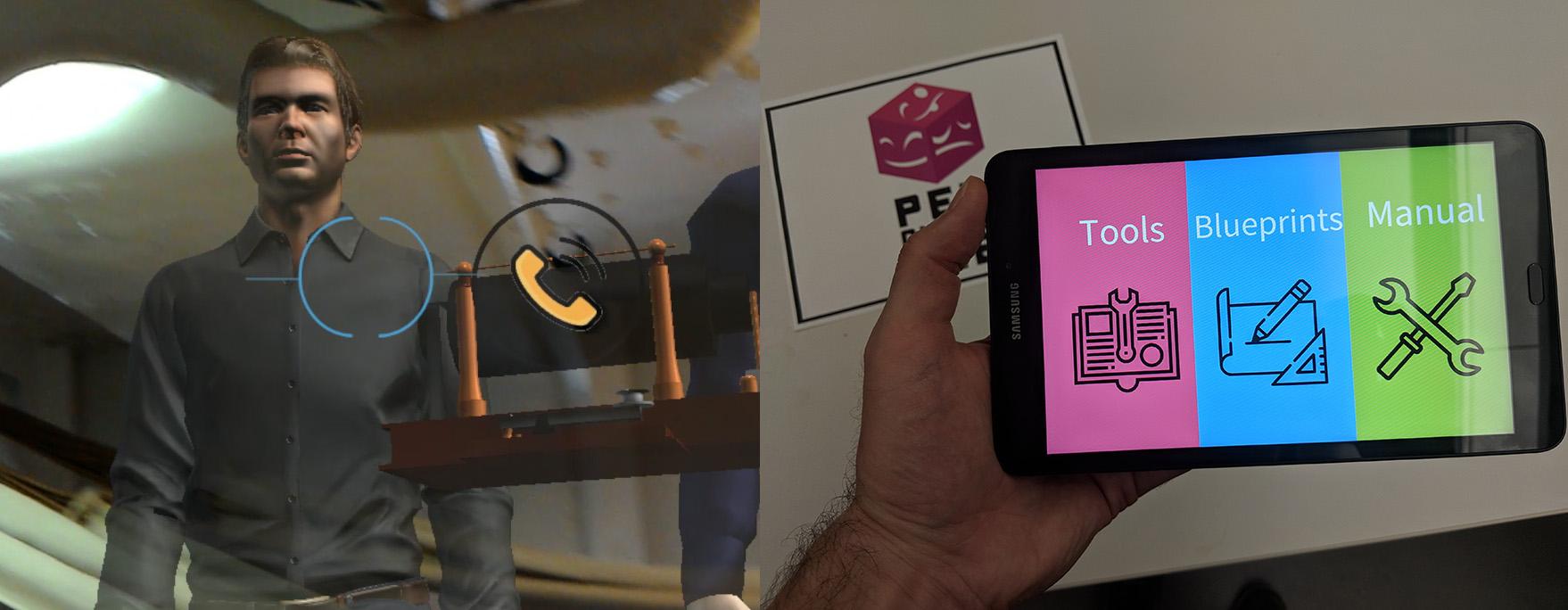 Scuttlebuddy AR prototype and companion app screenshots