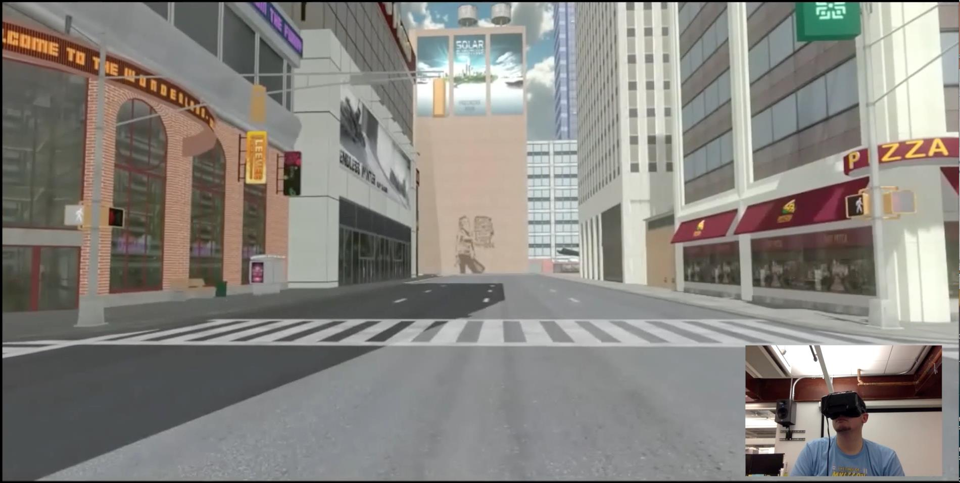 Screenshot of the VR prototype with inset view of the player.